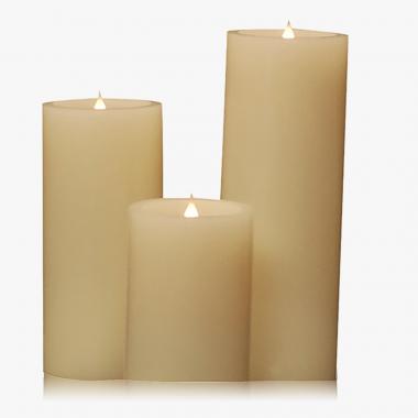 Echtwachs-3D-Kerzen-Set mit Flackereffekt 3-teilig