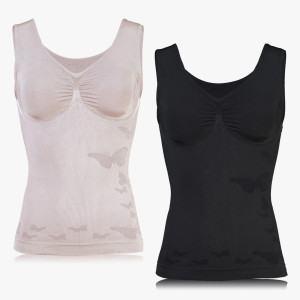 Shapewear Komfort Tops im Schmetterling-Design schwarz/sandelholz, 2 Stück