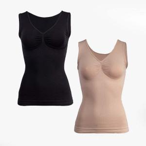 Shapewear Stützende Power Bauch Tops mit breiten Komfort-Trägern, sandelholz/schwarz, 2 Stück