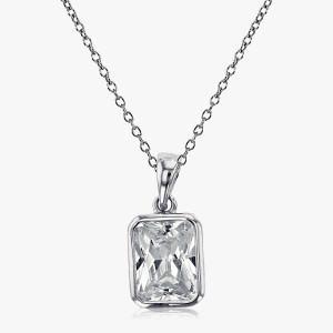 Halskette mit Anhänger im Smaragdschliff  925er Silber