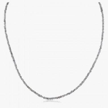 Edelsteincollier Diamant silbergrau