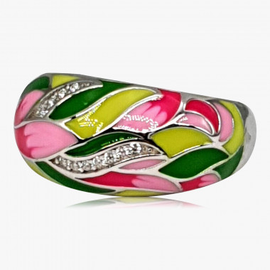Ring Emaille grün-rosé