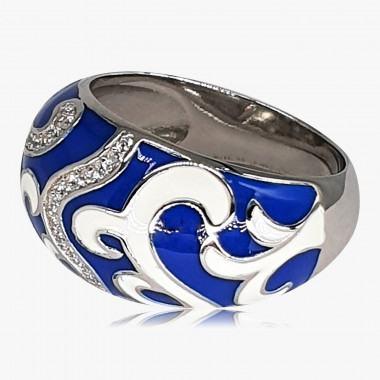 Ring Emaille Arabesken 925er Silber