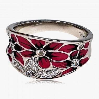 Ring Emaille Blüten 925er Silber