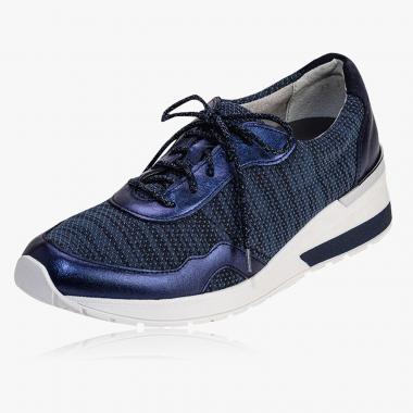 Echtleder-Sneaker mit Textilstretch