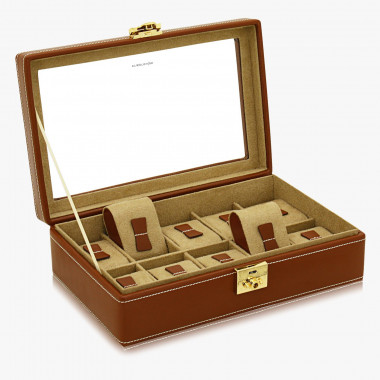Echtleder-Uhrenkoffer Cordoba mit Glasdeckel